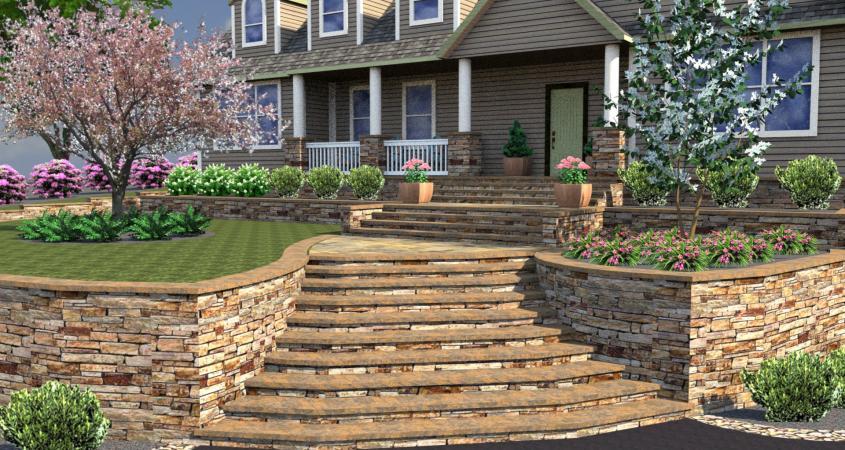 3D landscape design and walkway Boyertown, Pa