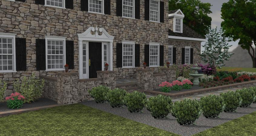 3D landscape design with shrubs in Chester Springs, Pa