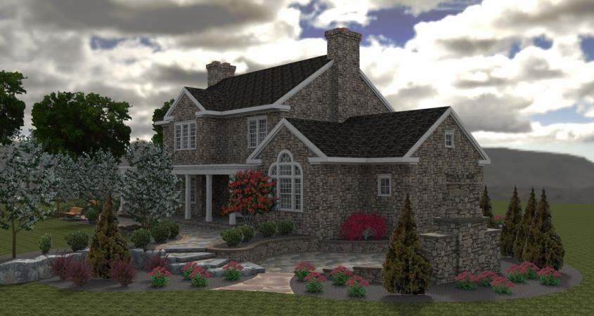 3D landscape design back view Chester Springs, Pa