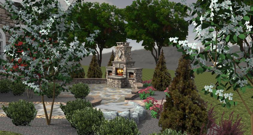 3D landscape design with fire pit Chester Springs, Pa