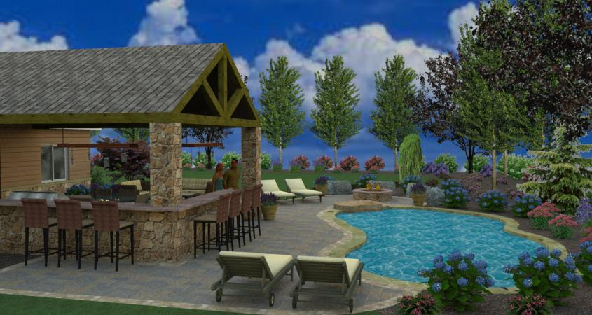Pool decking and landscaping in 3D design