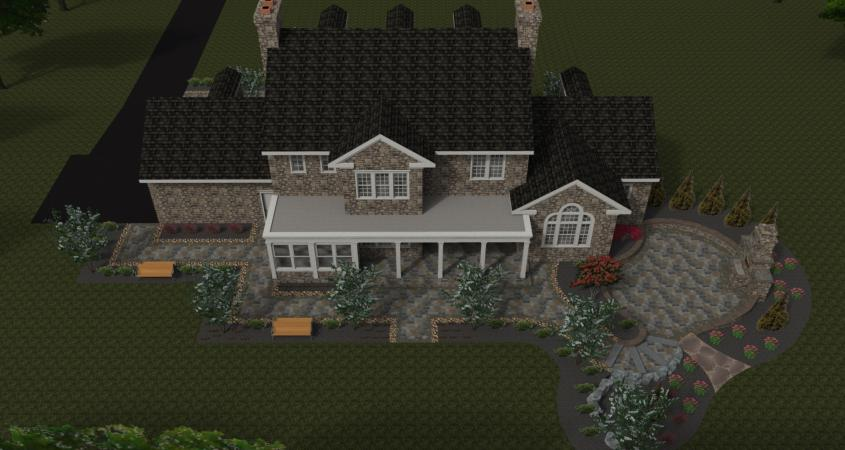 Top view 3D landscape design in Chester Springs, PA