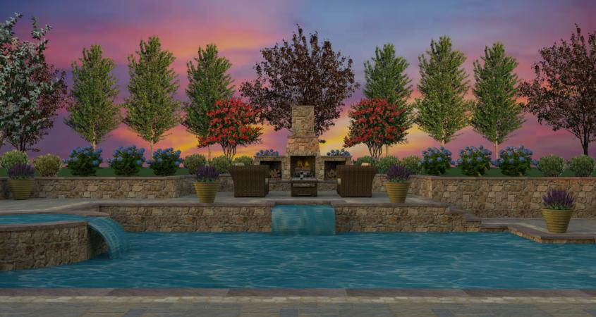 Custom 3D pool design with waterfall and outdoor fireplace.