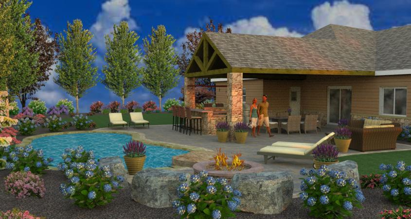 Fire pit with boulder seating in 3D design
