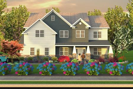 3D front yard landscaping