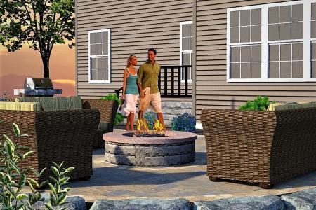 Douglassville patio and fire pit 3D design.