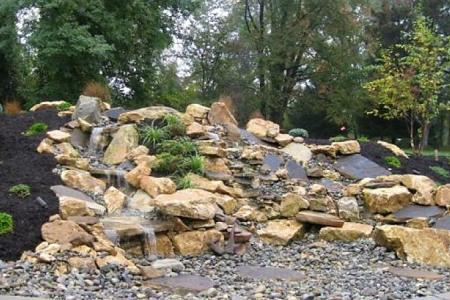 Pondless waterfall in Malvern PA