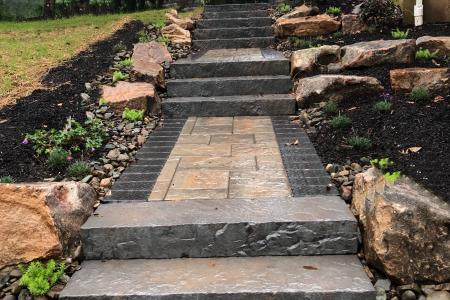 Collegeville paver walkway with slab steps