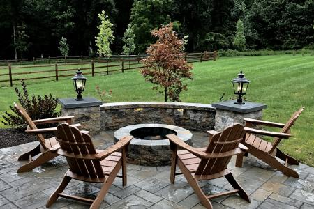 Round firepit with stone wall Downingtown, PA