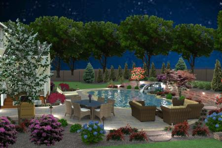 3D pool design and outdoor living space.