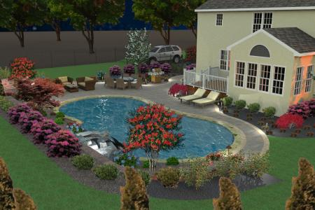 Pool landscape with paver pool decking in 3D design