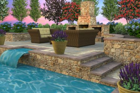 Contemporary water fall with multi level pool decking in 3D design.