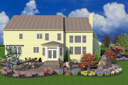 3D landscape design back view in Schwenksville, PA