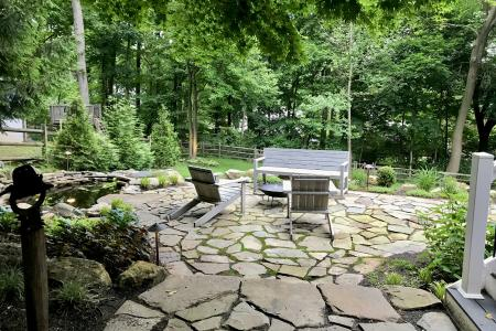Wayne natural stone patio and water feature