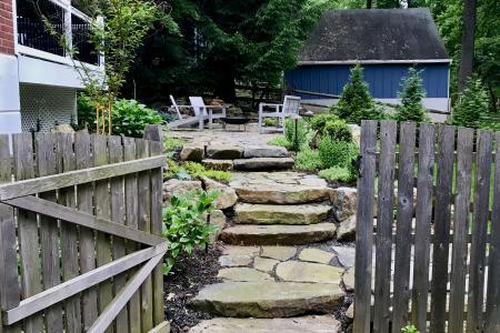 Wayne natural stone walkway and steps