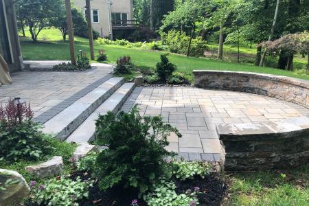 Wayne paver patio and sitting wall