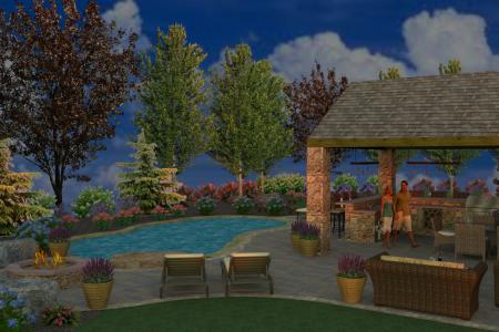 Custom pool design and outdoor living space.