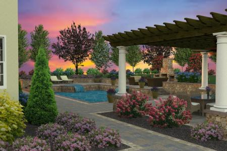 Custom 3D pool design with pergola