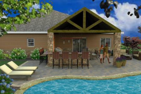 Covered patio and paver pool decking in 3D design