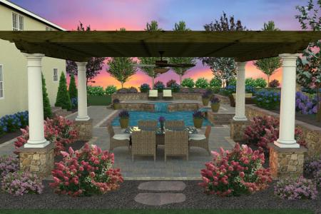 3D design dining area with pergola