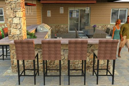 Outdoor bar with natural stone veneer and dining area.