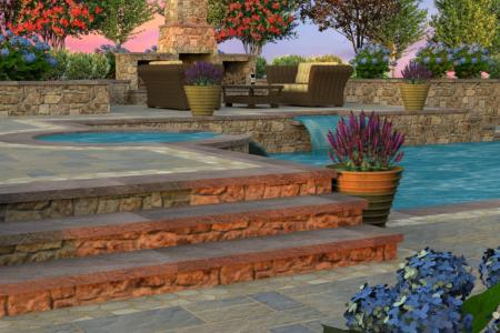 Multi-level pool decking with hot in 3D design