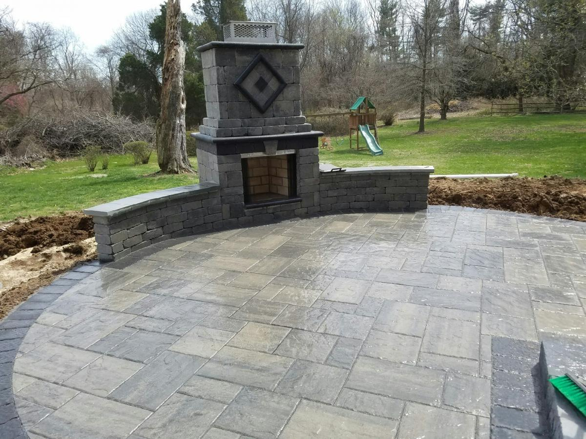 Phoenixville patio and fireplace